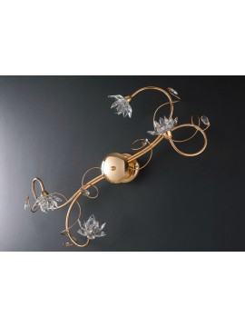 Plafoniera moderna oro con cristalli 4 luci LGT Teo pl4