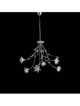 Lampadario moderno cromato con cristalli 6 luci LGT Flower sp6