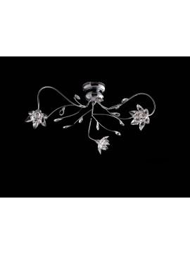 Plafoniera moderna cromata con cristalli 3 luci LGT Flower pl3