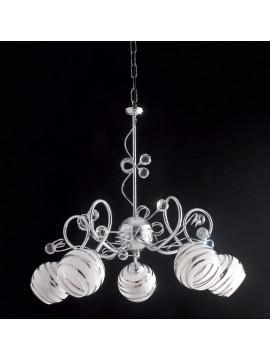 Lampadario moderno con sfere in cristallo 5 luci LGT Capri sp5