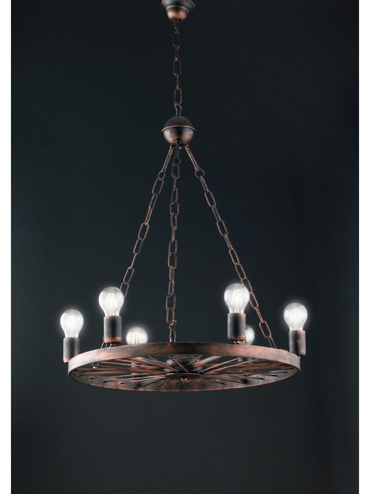 Lampadario rustico in ferro battuto 6 luci LGT beirut sp6