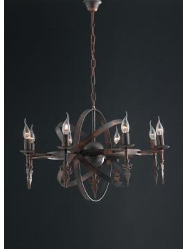 Lampadario rustico in ferro battuto 8 luci LGT Cage sp8