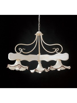 Barbell with rustic chandelier in wood and ceramic 3 lights LGT Spello 001