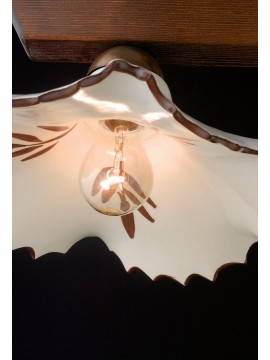 Rustic Chandelier in wood and ceramic 1 light LGT Spello 001