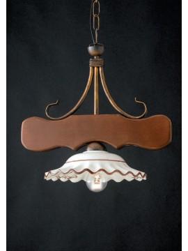 Lampadario rustico in legno e ceramica 1 luce LGT Spello 002