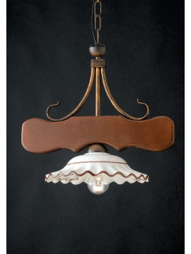 Rustic Chandelier in wood and ceramic 1 light LGT Spello 002
