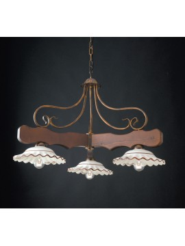 Chandelier with wooden rocker and ceramic 3 lights LGT Spello 002