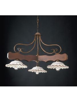 Lampadario a bilanciere rustico in legno e ceramica 3 luci LGT Spello 002