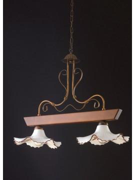Bilanciere rustico in legno noce e ceramica 2 luci LGT Trevi 001
