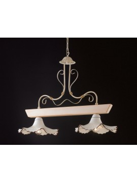 Rustic barbell in ivory wood and ceramic 2 lights LGT Trevi 002