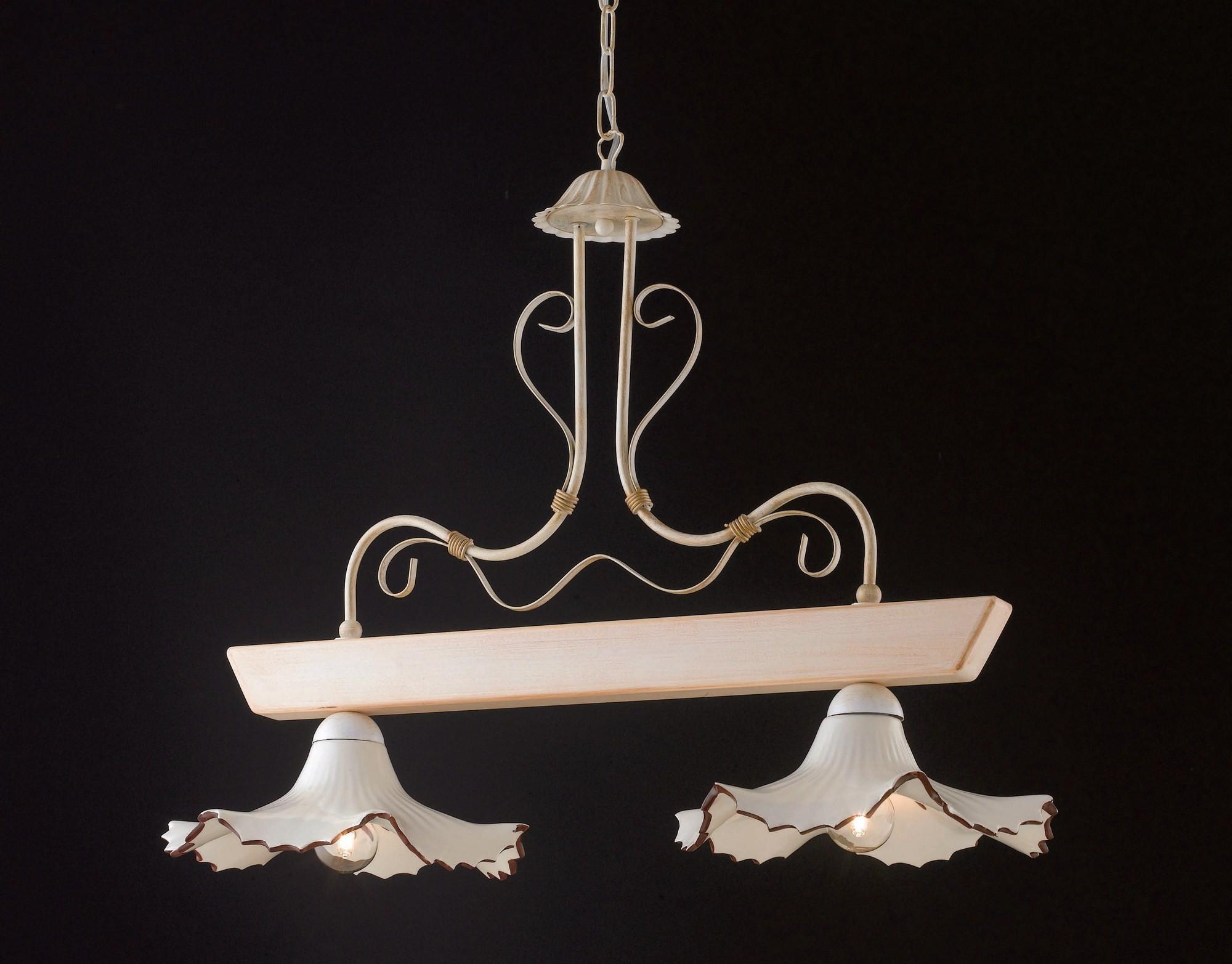 Lampadario Rustico Ceramica : Bilanciere rustico in legno avorio e ceramica luci lgt trevi