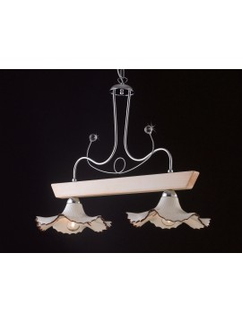 Modern barbell in ivory wood and ceramic 2 lights LGT Trevi 003
