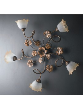 Traditional ceiling lamp in wrought iron 5 lights LGT Acero