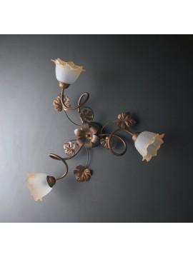 Plafoniera classica in ferro battuto 3 luci LGT Acero