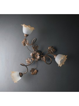 Traditional ceiling lamp in wrought iron 3 lights LGT Acero