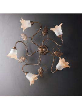 Traditional ceiling lamp in wrought iron 5 lights LGT Dark pinwheel