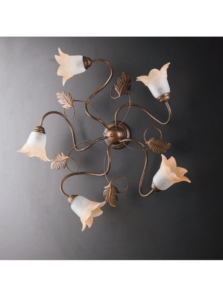 Traditional ceiling lamp in wrought iron 5 lights LGT Dark pinwheel