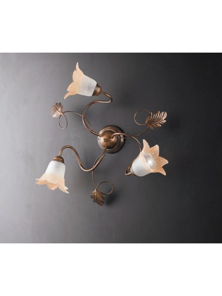 Traditional ceiling lamp in wrought iron 3 lights LGT Dark pinwheel