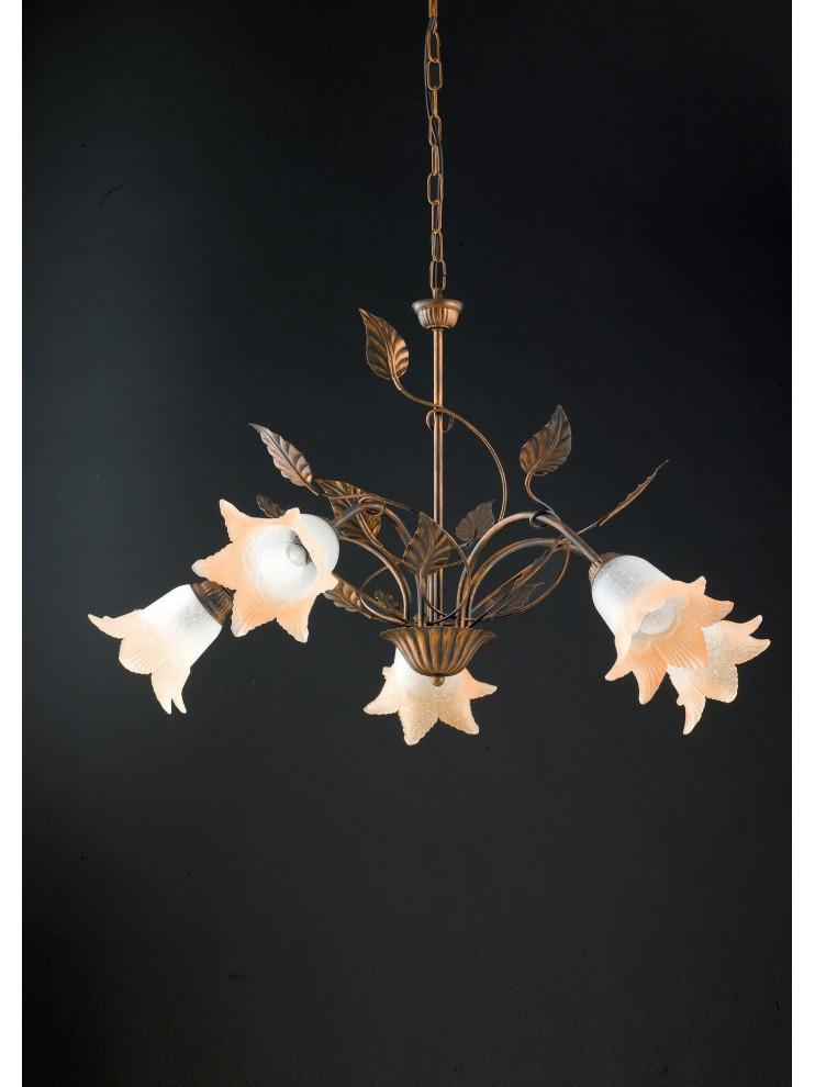 Lampadario classico in ferro battuto 5 luci LGT Anastasia