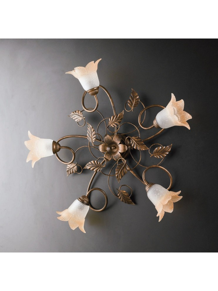 Traditional ceiling lamp in wrought iron 5 lights LGT Anastasia