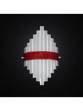Applique moderno in vetrofusione bianco-rosso 1 luce BGA 2953-a1
