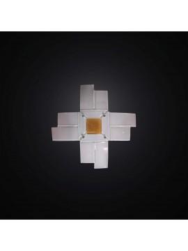 Plafoniera moderna in vetrofusione bianco-arancione 1 luce BGA 2957-30