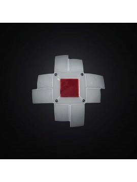 Plafoniera moderna in vetrofusione bianco-rosso 2 luci BGA 2957-40