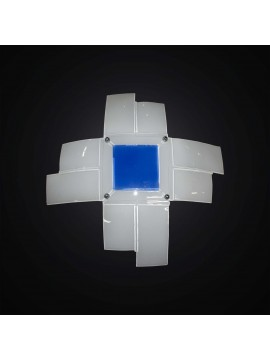 Plafoniera moderna in vetrofusione bianco-blu 4 luci BGA 2957-50