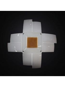 Plafoniera moderna in vetrofusione bianco-arancione 4 luci BGA 2957-60