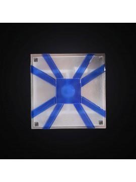 Plafoniera moderno vetrofusione bianco-blu 2 luci BGA 2960-30