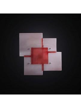 Plafoniera design moderna vetrofusione bianco-rosso 1 luce BGA 2961-30