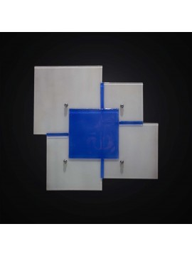 Plafoniera design moderna vetrofusione bianco-blu 2 luci BGA 2961-40