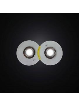 Plafoniera con faretti in vetrofusione bianco e giallo 2 luci BGA 2983-pl2