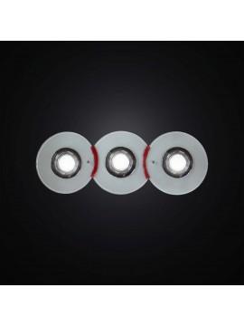 Plafoniera con faretti in vetrofusione bianco e rosso 3 luci BGA 2983-pl3