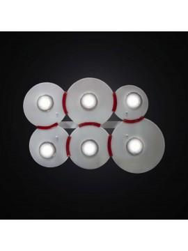 Plafoniera con faretti in vetrofusione bianco e rosso 6 luci BGA 2983-pl6
