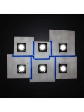 Plafoniera con faretti in vetrofusione bianco e blu 6 luci BGA 2984-pl6