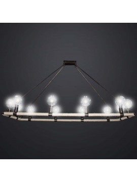 Rustic vintage chandelier in wrought iron with rope 12 lights BGA 2989-12