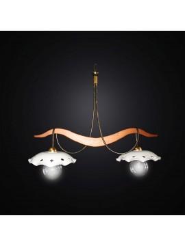 Bilanciere classico in legno e ceramica a 2 luci BGA 2991-b2