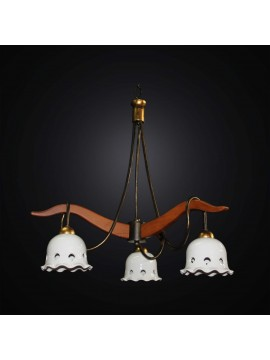 Classic rustic wood and ceramic chandelier with 3 lights BGA 2991-3