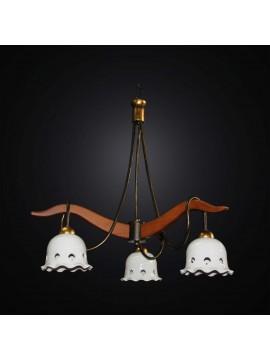 Lampadario rustico classico in legno e ceramica a 3 luci BGA 2991-3