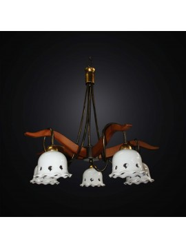 Classic rustic wood and ceramic chandelier with 5 lights BGA 2991-5