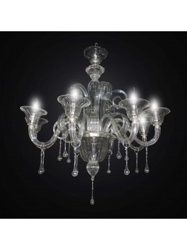 Lampadario murano classico trasparente a 8 luci BGA 3004-8