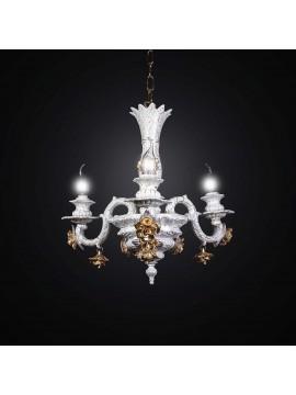 Lampadario classico in ceramica bianco con rose 3 luci BGA 2509-3