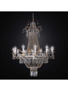 Classic chandelier in wrought iron and crystal 15 lights BGA 2337-15