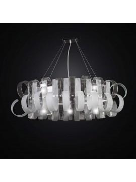 Lampadario moderno design in vetrofusione ovale a 5 luci BGA 2322-32r-o