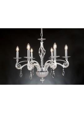 Modern chandelier in crystal 6 lights Design Swarovsky Amelia tortora