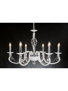 Lampadario moderno in cristallo 6 luci Design Swarovsky Amelia bianco