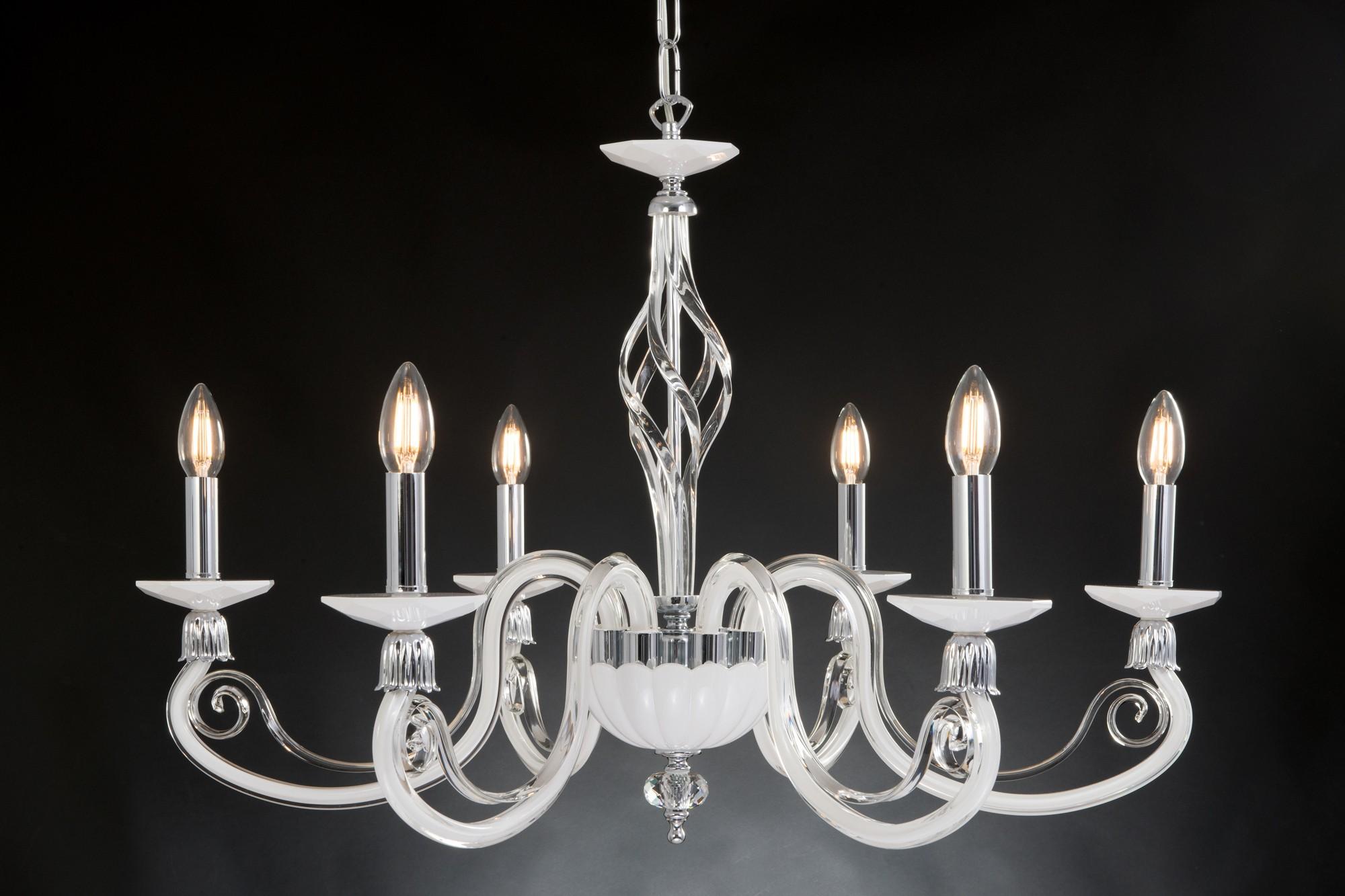 Lampadario Bianco E Cristallo : Lampadario moderno in cristallo luci design swarovsky bianca