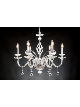 Modern chandelier in crystal 6 lights Design Swarovsky marzia white