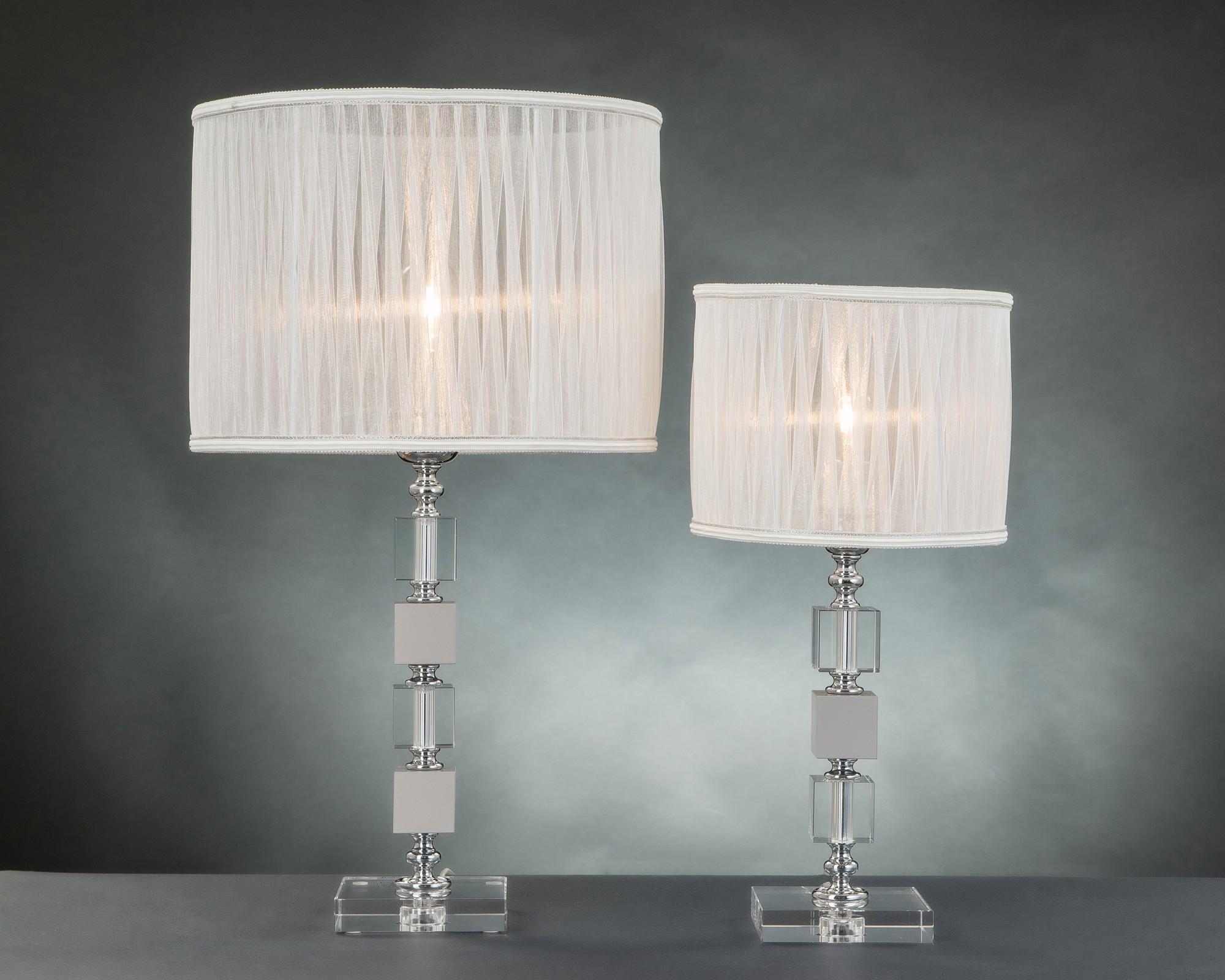 Lumetto moderno in cristallo 1 luce design swarovsky cubo tortora